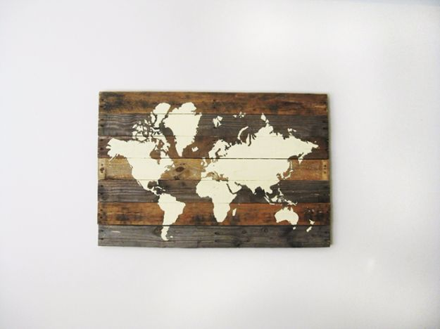 Rustic Wall Art Ideas - Pallet Board World Map - DIY Farmhouse Wall Art and Vintage Decor for Walls - Country Crafts and Rustic Home Decor Made Easy With Instructions and Tutorials - String Art, Repurposed Pallet Projects, Mason Jar Crafts, Vintage Signs, Word Art and Letters, Monograms and Sewing Projects http://diyjoy.com/rustic-wall-art-ideas