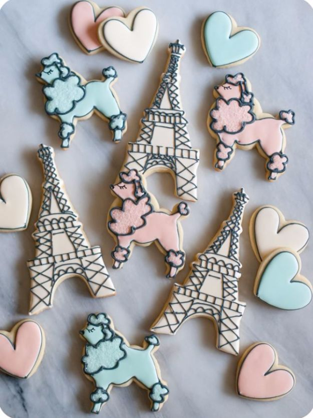 Cool Cookie Decorating Ideas - Paris Themed Decorated Cookies - Easy Ways To Decorate Cute, Adorable Cookies - Quick Recipes and Simple Decorating Tips With Icing, Candy, Chocolate, Buttercream Frosting and Fruit - Best Party Trays and Cookie Arrangements http://diyjoy.com/cookie-decorating-ideas