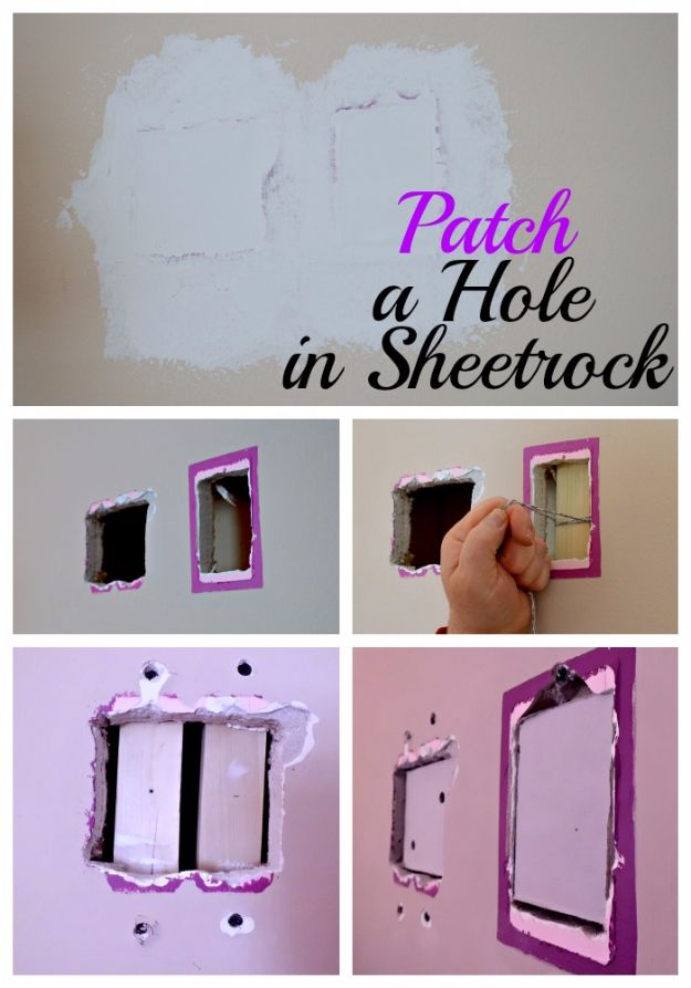 Easy Home Repair Hacks - Patch A Hole In Sheetrock - Quick Ways To Fix Your Home With Cheap and Fast DIY Projects - Step by step Tutorials, Good Ideas for Renovating, Simple Tips and Tricks for Home Improvement on A Budget #diy #homeimprovement