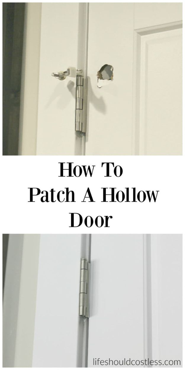 Easy Home Repair Hacks - Patch A Hollow Door - Quick Ways To Fix Your Home With Cheap and Fast DIY Projects - Step by step Tutorials, Good Ideas for Renovating, Simple Tips and Tricks for Home Improvement on A Budget - Save Money and Time on Small Bathrooms, Kitchen, Bathroom, House and Household http://diyjoy.com/best-home-repair-hacks