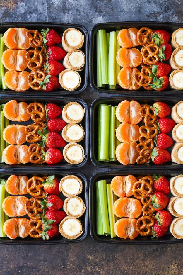 Back to School Lunch Ideas - Peanut Butter And Banana Roll-Ups Snack Box - Quick Snacks, Lunches and Homemade Lunchables - Bento Box Style Lunch for People in A Hurry - Fast Lunch Recipes to Pack Ahead - Healthy Ideas for Kids, Teens and Adults