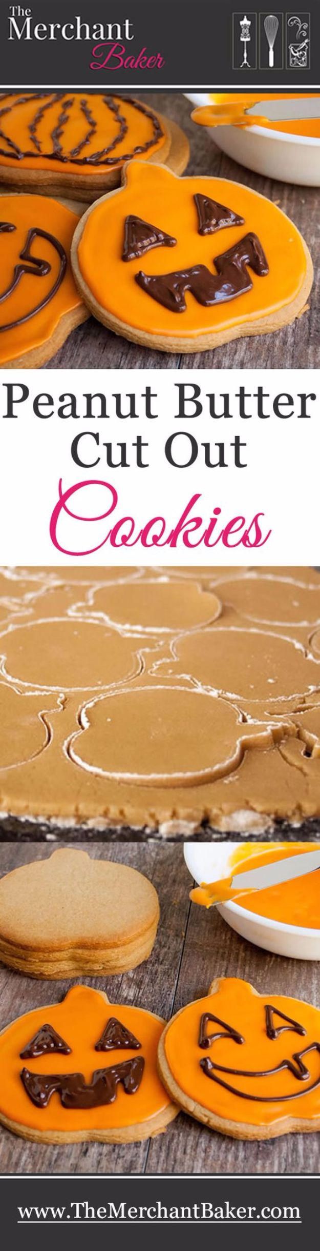 Cute Halloween Cookies - Peanut Butter Cut Out Cookies - Easy Recipes and Cookie Tutorials for Making Quick Halloween Treats - Spooky DIY Decorated Ghosts, Pumpkins, Bats, No Bake, Spiders and Spiderwebs, Tombstones and Healthy Options, Kids and Teens Cookies for School #halloween #halloweencookies