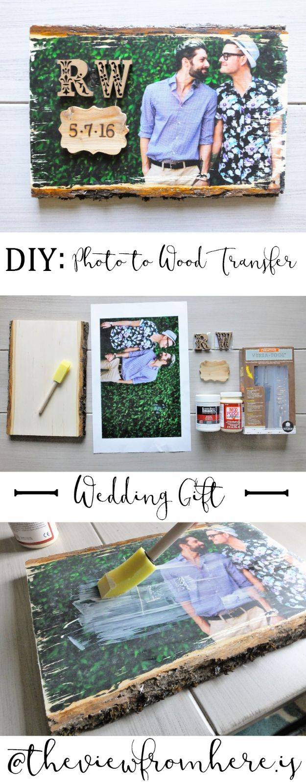 Cheap Wedding Gift Ideas - Photo-to-Wood Transfer Wedding Gift - DIY Wedding Gifts You Can Make On A Budget - Quick and Easy Ideas for Handmade Presents for the Couple Getting Married - Inexpensive Things To Make for Bride and Groom - DIY Home Decor, Wall Art, Glassware, Furniture, Tableware, Place Settings, Cake and Cookie Plates and Glasses http://diyjoy.com/cheap-diy-wedding-gift-ideas