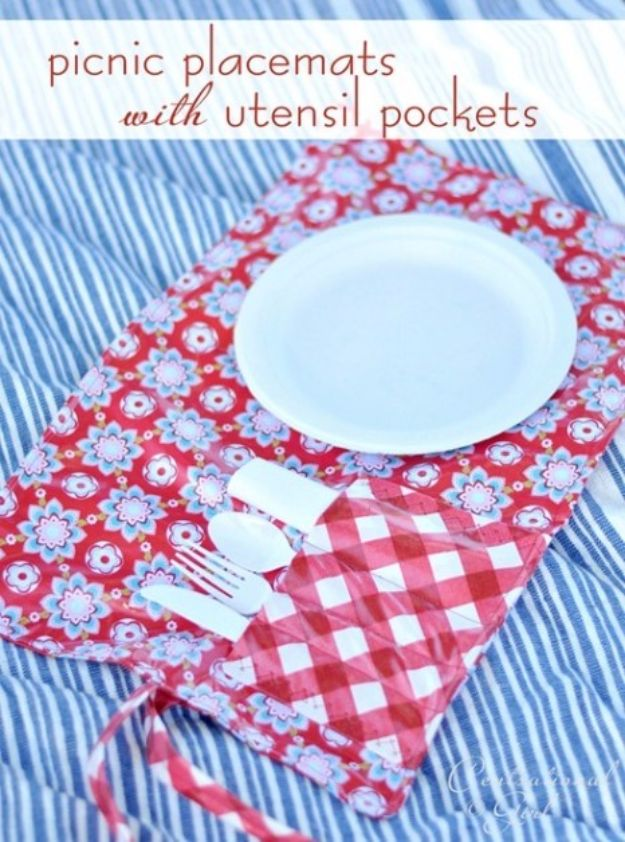 DIY Napkins and Placemats - Picnic Placemats with Utensil Pockets - Easy Sewing Projects, Cute No Sew Ideas and Creative Ways To Make a Napkin or Placemat - Quick DIY Gift Ideas for Friends, Family and Awesome Home Decor - Cheap Do It Yourself Kitchen Decor - Simple Wedding Gifts You Can Make On A Budget