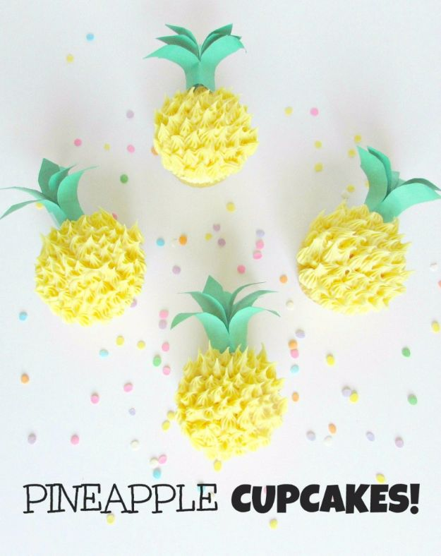 Cool Cupcake Decorating Ideas - Pineapple Cupcakes - Easy Ways To Decorate Cute, Adorable Cupcakes - Quick Recipes and Simple Decorating Tips With Icing, Candy, Chocolate, Buttercream Frosting and Fruit kids birthday party ideas cake