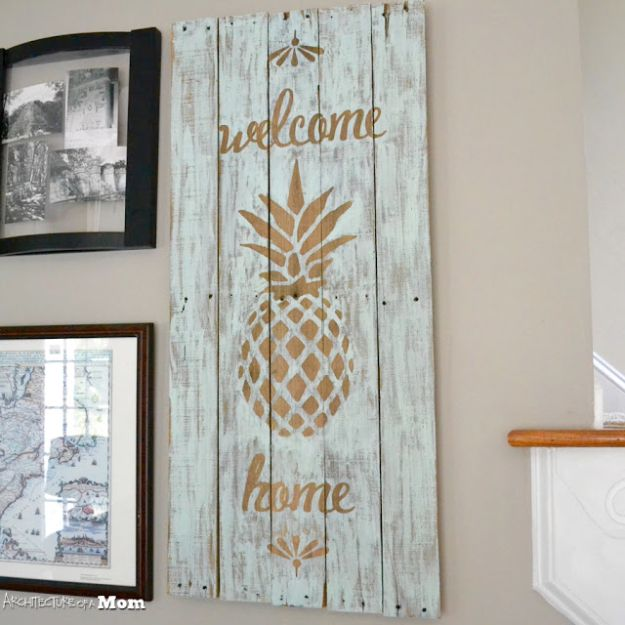 Rustic Wall Art Ideas - Pineapple Wooden Welcome Wall Art - DIY Farmhouse Wall Art and Vintage Decor for Walls - Country Crafts and Rustic Home Decor Made Easy With Instructions and Tutorials - String Art, Repurposed Pallet Projects, Mason Jar Crafts, Vintage Signs, Word Art and Letters, Monograms and Sewing Projects
