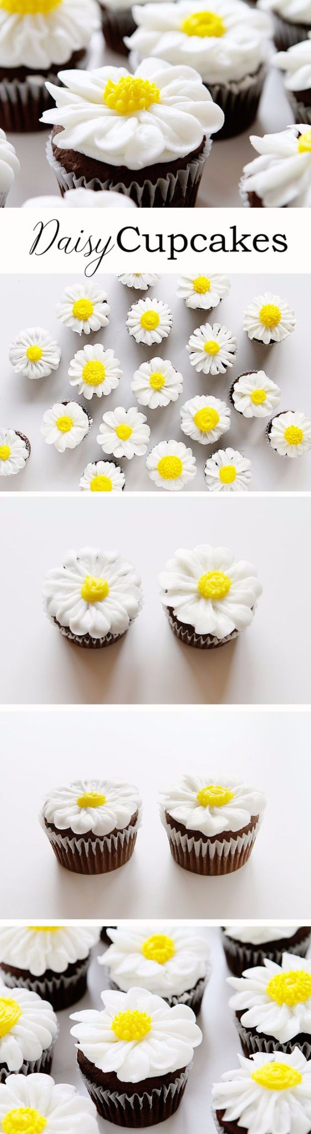 Cool Cupcake Decorating Ideas - Pipe a Buttercream Daisy - Easy Ways To Decorate Cute, Adorable Cupcakes - Quick Recipes and Simple Decorating Tips With Icing, Candy, Chocolate, Buttercream Frosting and Fruit kids birthday party ideas cake