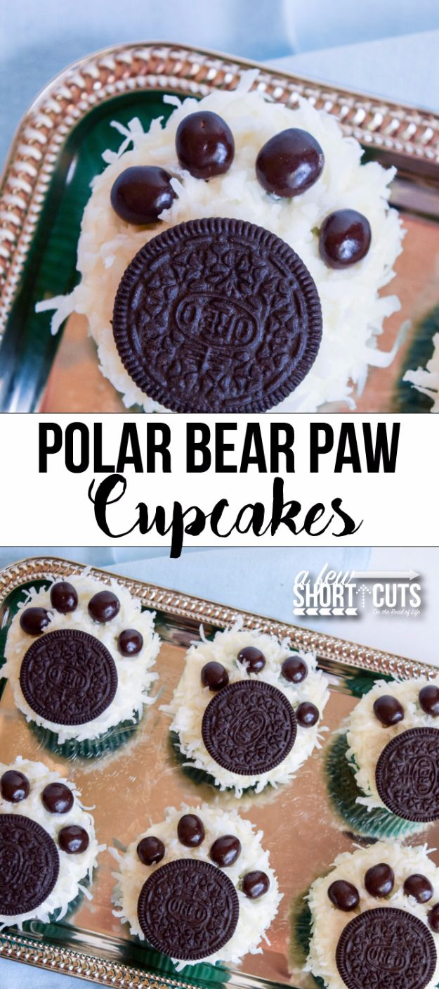 Cool Cupcake Decorating Ideas - Polar Bear Paw Cupcakes - Easy Ways To Decorate Cute, Adorable Cupcakes - Quick Recipes and Simple Decorating Tips With Icing, Candy, Chocolate, Buttercream Frosting and Fruit kids birthday party ideas cake