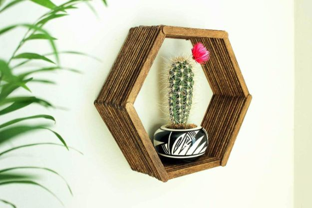 Rustic Wall Art Ideas - Popsicle Stick Hexagon Shadow Box - DIY Farmhouse Wall Art and Vintage Decor for Walls - Country Crafts and Rustic Home Decor Made Easy With Instructions and Tutorials - String Art, Repurposed Pallet Projects, Mason Jar Crafts, Vintage Signs, Word Art and Letters, Monograms and Sewing Projects http://diyjoy.com/rustic-wall-art-ideas