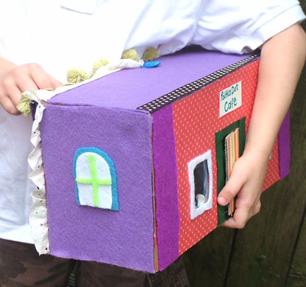 DIY Ideas With Shoe Boxes - Portable Doll House - Shoe Box Crafts and Organizers for Storage - How To Make A Shelf, Makeup Organizer, Kids Room Decoration, Storage Ideas Projects - Cheap Home Decor DIY Ideas for Kids, Adults and Teens Rooms #diyideas #upcycle