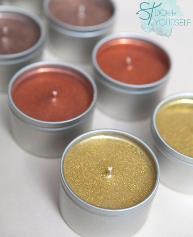 DIY Ideas for Candles - Poured Glitter Tin Candles - Cute, Cheap and Creative Ways to Decorate With Candles - Votives and Candle Holders Make Some Of Our Favorite Home Decor Ideas and Homemade Do It Yourself Gifts - Give One of These Inexpensive Ideas to Mom, Dad and Friends - Easy Dollar Store Crafts With Candle http://diyjoy.com/diy-ideas-candles