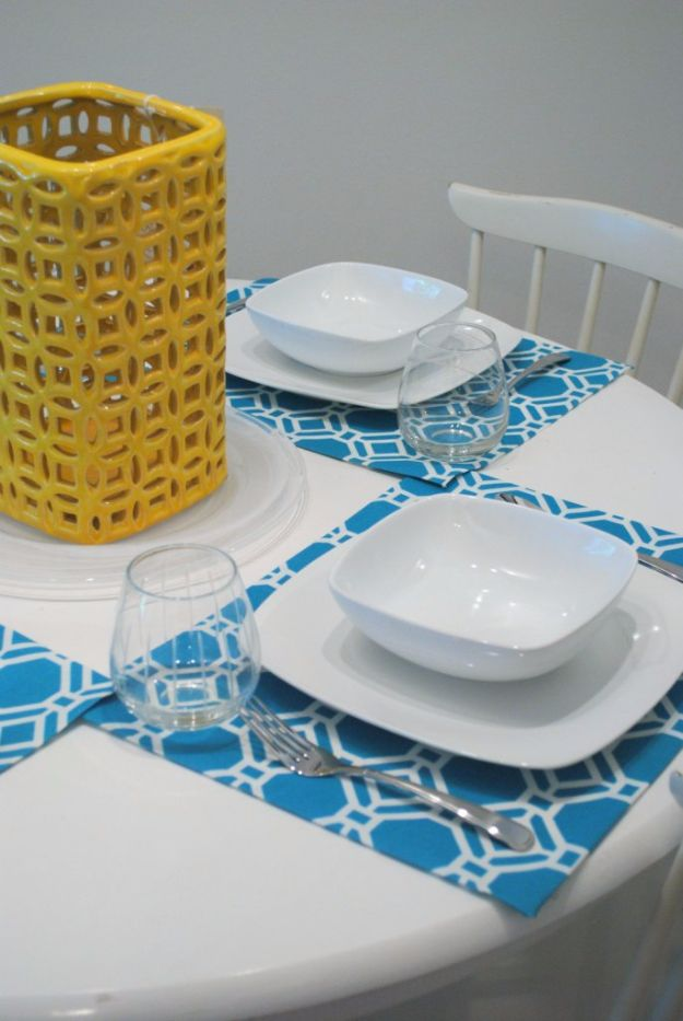 DIY Napkins and Placemats - Pretty No-Sew Placemats - Easy Sewing Projects, Cute No Sew Ideas and Creative Ways To Make a Napkin or Placemat - Quick DIY Gift Ideas for Friends, Family and Awesome Home Decor - Cheap Do It Yourself Kitchen Decor - Simple Wedding Gifts You Can Make On A Budget http://diyjoy.com/diy-napkins-placemats