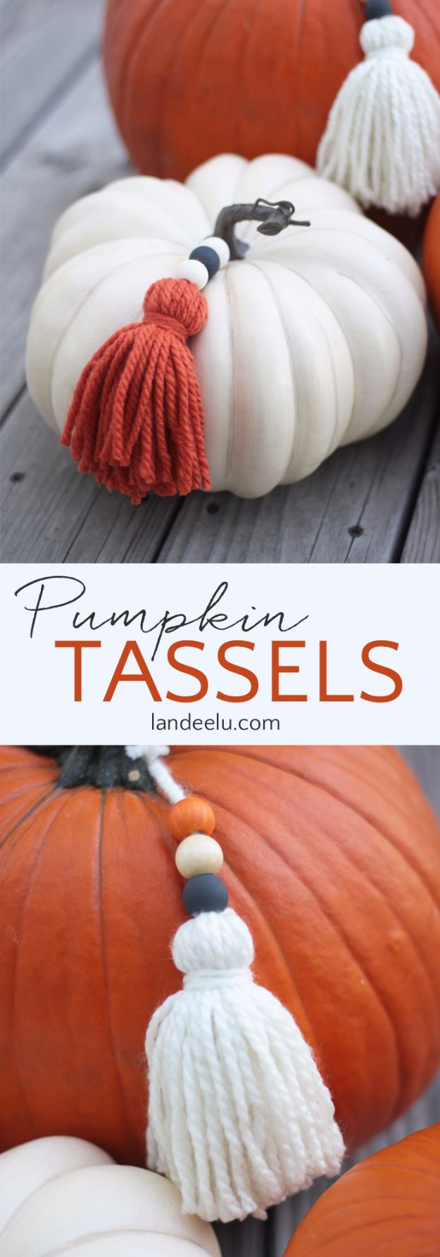 DIY Crafts for Fall Decorating - Pumpkin Yarn Tassels - DIY Autumn Home Decor, Mason Jar Fall Crafts, Dollar Store Crafts, Rustic Pumpkin Ideas, Wreaths, Candles and Wall Art, Centerpieces, Craft Projects with Leaves, Flowers and Burlap Country Crafts