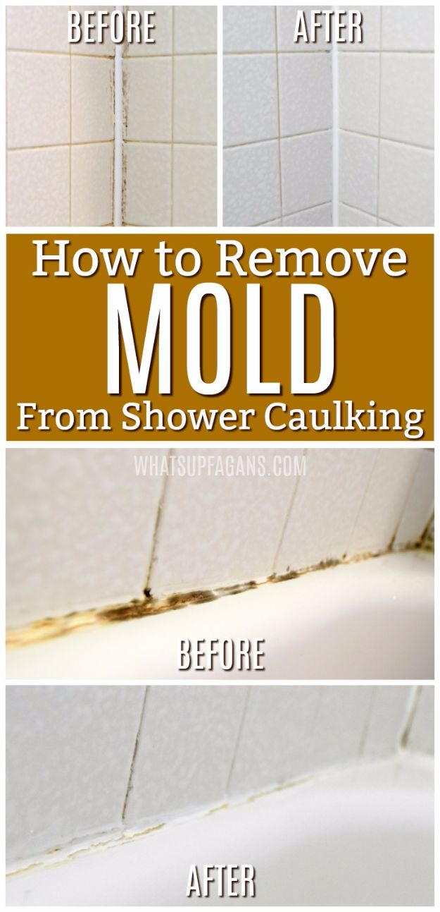 Cleaning Tips and Tricks - Remove Mold From Shower Caulking - Best Cleaning Hacks, Recipes and Tutorials - Daily Ways to Clean For Kitchen, For Couches, Bathroom, Bedroom, Laundry, Floors, Furniture, Windows, Cleaners and More for Cleaning Your Home- Quick Ideas for Lazy People - Cool Cleaning Hack Tutorial - DIY Projects and Crafts by DIY JOY http://diyjoy.com/diy-cleaning-tips-tricks