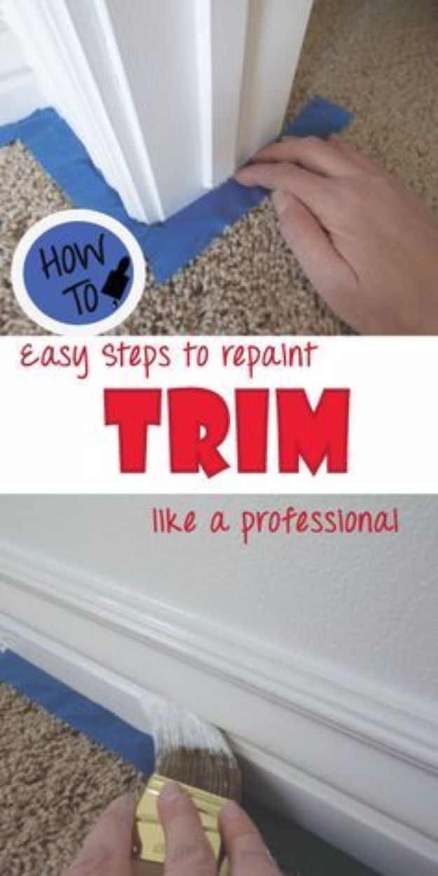 Easy Home Repair Hacks - Repaint your Trim like a Pro - Quick Ways to Easily Fix Broken Things Around The House - DIY Tricks for Home Improvement and Repairs - Simple Solutions for Kitchen, Bath, Garage and Yard - Caulk, Grout, Wall Repair and Wood Patching and Staining http://diyjoy.com/easy-home-repair-hacks