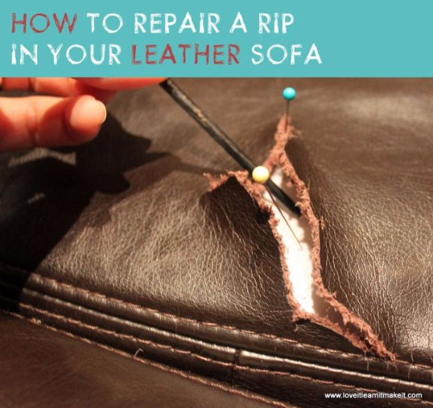 Easy Home Repair Hacks - Repair A Rip In Your Leather Sofa - Quick Ways to Easily Fix Broken Things Around The House - DIY Tricks for Home Improvement and Repairs - Simple Solutions for Kitchen, Bath, Garage and Yard - Caulk, Grout, Wall Repair and Wood Patching and Staining http://diyjoy.com/easy-home-repair-hacks