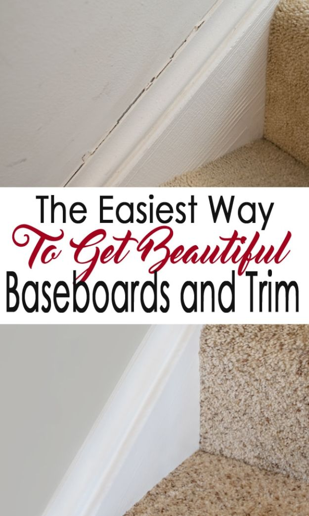 Easy Home Repair Hacks - Repair And Caulk Baseboards - Quick Ways to Easily Fix Broken Things Around The House - DIY Tricks for Home Improvement and Repairs - Simple Solutions for Kitchen, Bath, Garage and Yard - Caulk, Grout, Wall Repair and Wood Patching and Staining #hacks #homeimprovement