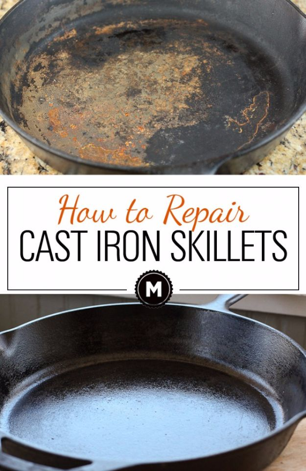 Cleaning Tips and Tricks - Repair And Clean Cast Iron Skillets - Best Cleaning Hacks, Recipes and Tutorials - Daily Ways to Clean For Kitchen, For Couches, Bathroom, Bedroom, Laundry, Floors, Furniture, Windows, Cleaners and More for Cleaning Your Home- Quick Ideas for Lazy People - Cool Cleaning Hack Tutorial - DIY Projects and Crafts by DIY JOY http://diyjoy.com/diy-cleaning-tips-tricks