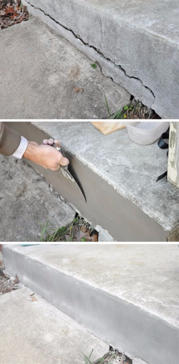 Easy Home Repair Hacks - Repair Cracked Concrete - Quick Ways to Easily Fix Broken Things Around The House - DIY Tricks for Home Improvement and Repairs - Simple Solutions for Kitchen, Bath, Garage and Yard - Caulk, Grout, Wall Repair and Wood Patching and Staining http://diyjoy.com/easy-home-repair-hacks