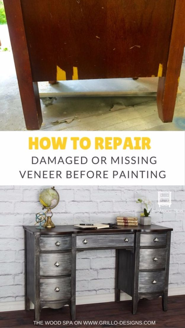 Easy Home Repair Hacks - Repair Damaged Veneer Before Painting Furniture - Quick Ways To Fix Your Home With Cheap and Fast DIY Projects - Step by step Tutorials, Good Ideas for Renovating, Simple Tips and Tricks for Home Improvement on A Budget - Save Money and Time on Small Bathrooms, Kitchen, Bathroom, House and Household http://diyjoy.com/best-home-repair-hacks