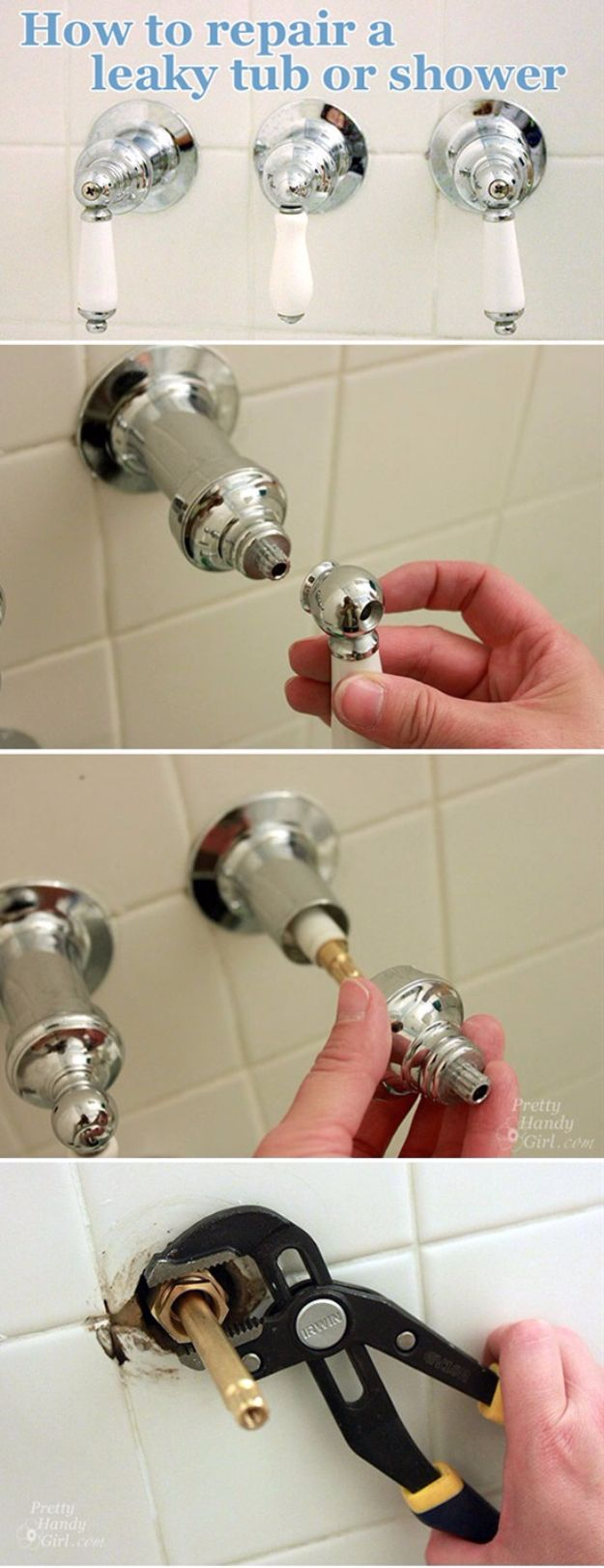 Easy Home Repair Hacks - Repair a Leaky Shower or Tub Faucet - Quick Ways to Easily Fix Broken Things Around The House - DIY Tricks for Home Improvement and Repairs - Simple Solutions for Kitchen, Bath, Garage and Yard - Caulk, Grout, Wall Repair and Wood Patching and Staining http://diyjoy.com/easy-home-repair-hacks
