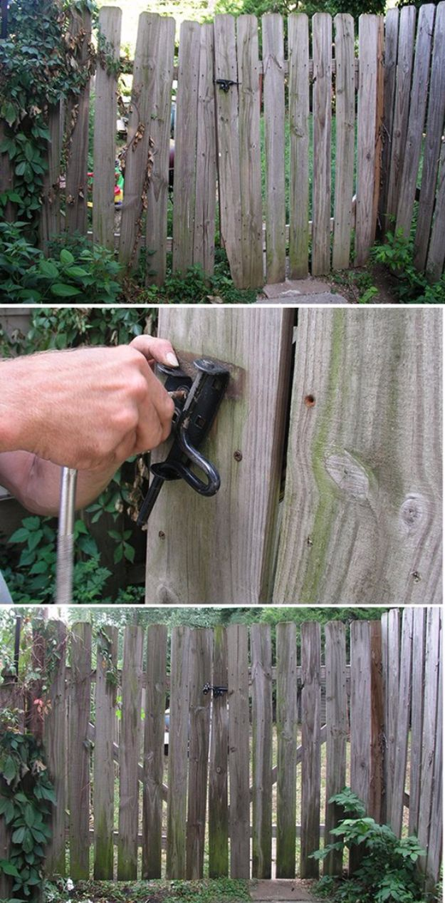 Easy Home Repair Hacks - Repair a Sagging Gate - Quick Ways to Easily Fix Broken Things Around The House - DIY Tricks for Home Improvement and Repairs - Simple Solutions for Kitchen, Bath, Garage and Yard - Caulk, Grout, Wall Repair and Wood Patching and Staining http://diyjoy.com/easy-home-repair-hacks