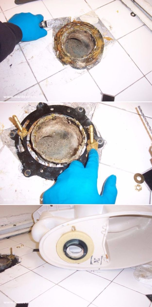 Easy Home Repair Hacks - Replace A Broken Toilet Flange - Quick Ways to Easily Fix Broken Things Around The House - DIY Tricks for Home Improvement and Repairs - Simple Solutions for Kitchen, Bath, Garage and Yard - Caulk, Grout, Wall Repair and Wood Patching and Staining #hacks #homeimprovement