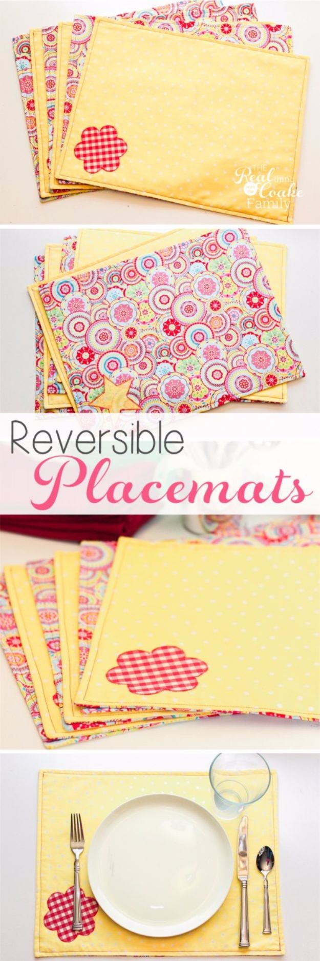 DIY Napkins and Placemats - Reversible Placemats - Easy Sewing Projects, Cute No Sew Ideas and Creative Ways To Make a Napkin or Placemat - Quick DIY Gift Ideas for Friends, Family and Awesome Home Decor - Cheap Do It Yourself Kitchen Decor - Simple Wedding Gifts You Can Make On A Budget http://diyjoy.com/diy-napkins-placemats