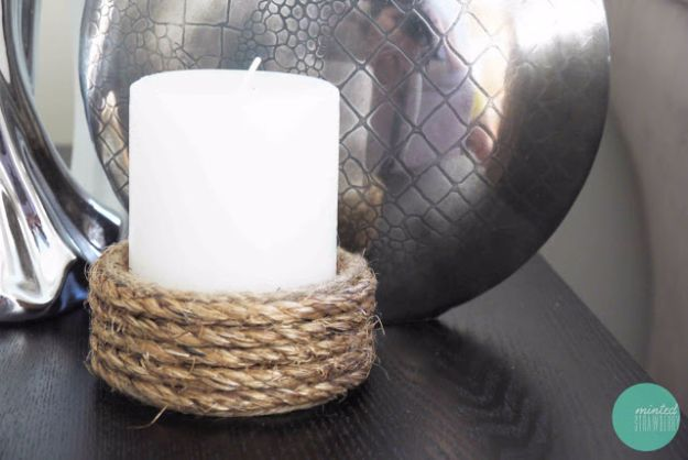 DIY Ideas for Candles - Rope Wrapped Candle Holder - Cute, Cheap and Creative Ways to Decorate With Candles - Votives and Candle Holders Make Some Of Our Favorite Home Decor Ideas and Homemade Do It Yourself Gifts - Give One of These Inexpensive Ideas to Mom, Dad and Friends - Easy Dollar Store Crafts With Candle http://diyjoy.com/diy-ideas-candles