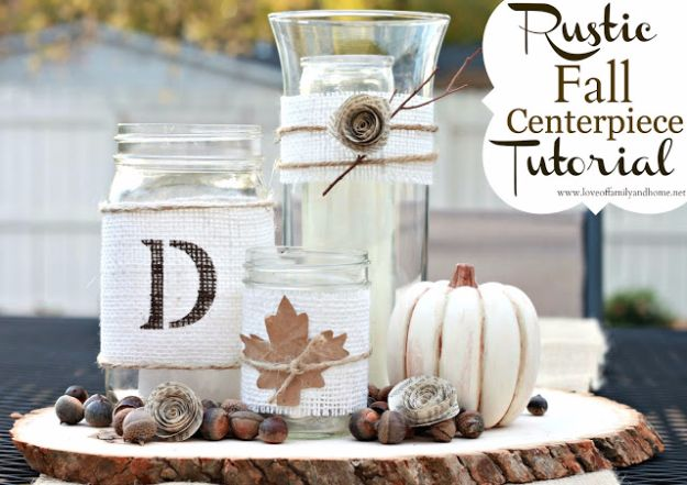 Best Crafts for Fall Decorating - Rustic Fall Centerpiece - DIY Home Decor, Mason Jar Ideas, Dollar Store Crafts, Rustic Pumpkin Ideas, Wreaths, Candles and Wall Art, Centerpieces, Wedding Decorations, Homemade Gifts, Craft Projects with Leaves, Flowers and Burlap, Painted Art, Candles and Luminaries for Cool Home Decor - Quick and Easy Projects With Step by Step Tutorials and Instructions
