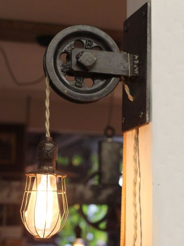 DIY Lighting Ideas and Cool DIY Light Projects for the Home - Rustic Farmhouse Pulley Pendant Light - Easy DIY Ideas for Chandeliers, lights, lamps, awesome pendants and creative hanging fixtures, complete with tutorials with instructions. Cheap do it yourself lighting tutorials for indoor - bedroom, living room, bathroom, kitchen DIY Projects and Crafts for Women and Men