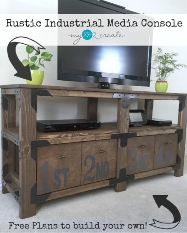 DIY Media Consoles and TV Stands - Rustic Industrial Media Console - Make a Do It Yourself Entertainment Center With These Easy Step By Step Tutorials - Easy Farmhouse Decor Media Stand for Television - Free Plans and Instructions for Building and Painting Your Own DIY Furniture - IKEA Hacks for TV Stand Idea - Quick and Easy Ways to Decorate Your Home On A Budget http://diyjoy.com/diy-tv-media-consoles