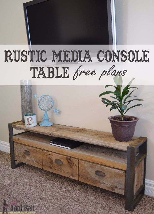 DIY Media Consoles and TV Stands - Rustic Media Console Table - Make a Do It Yourself Entertainment Center With These Easy Step By Step Tutorials - Easy Farmhouse Decor Media Stand for Television - Free Plans and Instructions for Building and Painting Your Own DIY Furniture - IKEA Hacks for TV Stand Idea - Quick and Easy Ways to Decorate Your Home On A Budget http://diyjoy.com/diy-tv-media-consoles