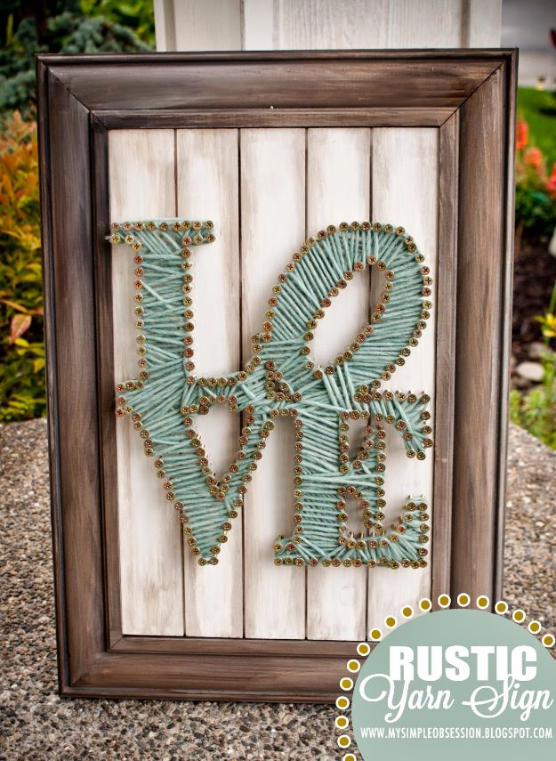 Rustic Wall Art Ideas - Rustic String Yarn Wall Art - DIY Farmhouse Wall Art and Vintage Decor for Walls - Country Crafts and Rustic Home Decor Made Easy With Instructions and Tutorials - String Art, Repurposed Pallet Projects, Mason Jar Crafts, Vintage Signs, Word Art and Letters, Monograms and Sewing Projects http://diyjoy.com/rustic-wall-art-ideas