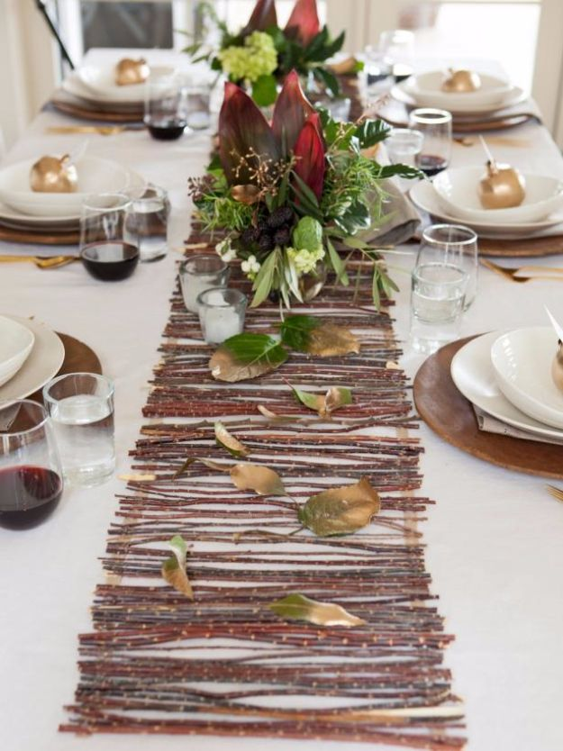 Best Crafts for Fall Decorating - Rustic Twig Table Runner - DIY Home Decor, Mason Jar Ideas, Dollar Store Crafts, Rustic Pumpkin Ideas, Wreaths, Candles and Wall Art, Centerpieces, Wedding Decorations, Homemade Gifts, Craft Projects with Leaves, Flowers and Burlap, Painted Art, Candles and Luminaries for Cool Home Decor - Quick and Easy Projects With Step by Step Tutorials and Instructions http://diyjoy.com/best-fall-decorating-ideas