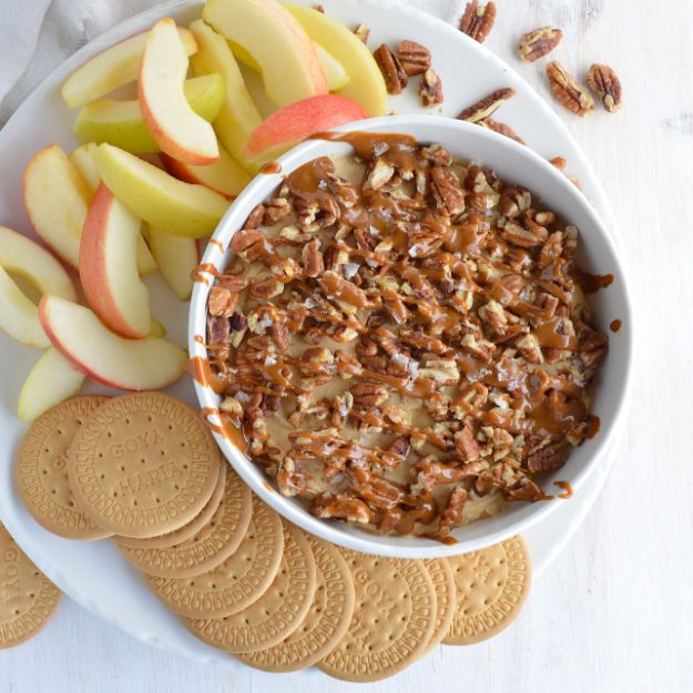 Best Dip Recipes - Salted Caramel Pecan Cheesecake Dip - Easy Recipe Ideas for A Party Appetizer - Cold Recipe Ideas for Chips, Crockpot, Mexican Bean Dip, Desserts and Healthy Fruit Options - Italian Dressing and Ranch Dip Recipe Ideas http://diyjoy.com/best-dip-recipes