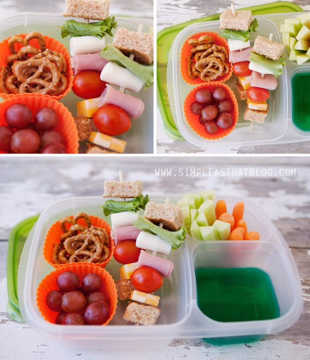 Back to School Lunch Ideas - Sandwich Kabobs - Quick Snacks, Lunches and Homemade Lunchables - Bento Box Style Lunch for People in A Hurry - Fast Lunch Recipes to Pack Ahead - Healthy Ideas for Kids, Teens and Adults