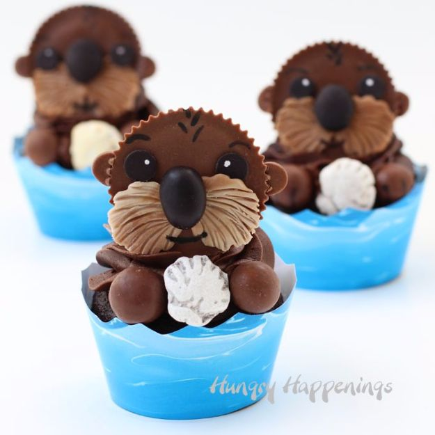 Cool Cupcake Decorating Ideas - Sea Otter Cupcakes - Easy Ways To Decorate Cute, Adorable Cupcakes - Quick Recipes and Simple Decorating Tips With Icing, Candy, Chocolate, Buttercream Frosting and Fruit kids birthday party ideas cake