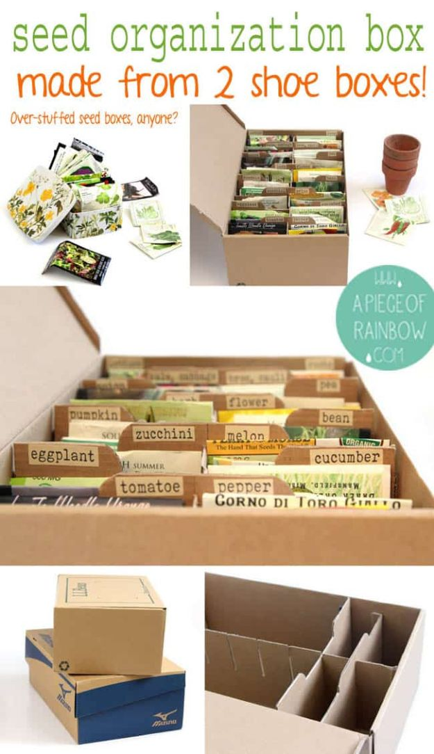 DIY Ideas With Shoe Boxes - Seed Organization Box - Shoe Box Crafts and Organizers for Storage - How To Make A Shelf, Makeup Organizer, Kids Room Decoration, Storage Ideas Projects - Cheap Home Decor DIY Ideas for Kids, Adults and Teens Rooms http://diyjoy.com/diy-ideas-shoe-boxes