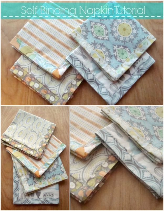 DIY Napkins and Placemats - Self Binding Napkin - Easy Sewing Projects, Cute No Sew Ideas and Creative Ways To Make a Napkin or Placemat - Quick DIY Gift Ideas for Friends, Family and Awesome Home Decor - Cheap Do It Yourself Kitchen Decor - Simple Wedding Gifts You Can Make On A Budget http://diyjoy.com/diy-napkins-placemats