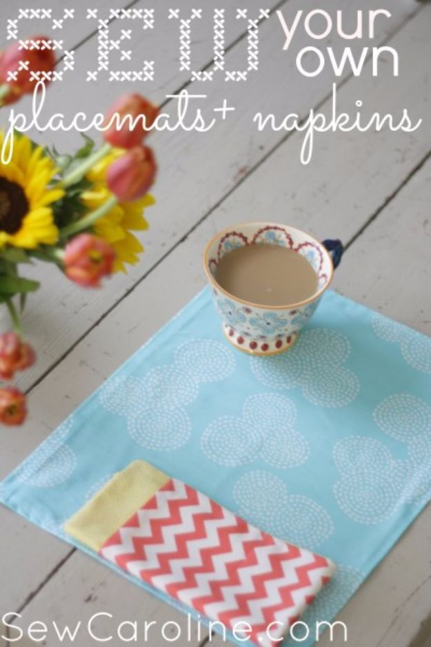 DIY Napkins and Placemats - Sew Your Own Placemat + Napkins - Easy Sewing Projects, Cute No Sew Ideas and Creative Ways To Make a Napkin or Placemat - Quick DIY Gift Ideas for Friends, Family and Awesome Home Decor - Cheap Do It Yourself Kitchen Decor - Simple Wedding Gifts You Can Make On A Budget