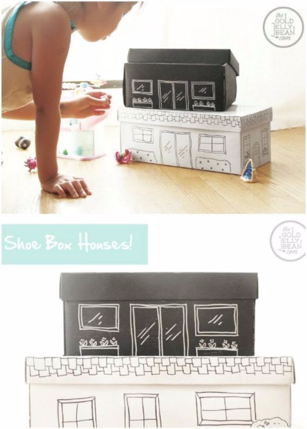 DIY Ideas With Shoe Boxes - Shoe Box Houses - Shoe Box Crafts and Organizers for Storage - How To Make A Shelf, Makeup Organizer, Kids Room Decoration, Storage Ideas Projects - Cheap Home Decor DIY Ideas for Kids, Adults and Teens Rooms http://diyjoy.com/diy-ideas-shoe-boxes