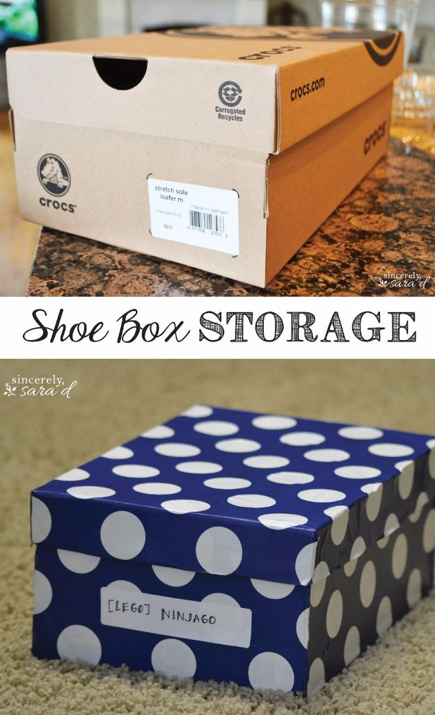 DIY Ideas With Shoe Boxes - Shoe Box Storage - Shoe Box Crafts and Organizers for Storage - How To Make A Shelf, Makeup Organizer, Kids Room Decoration, Storage Ideas Projects - Cheap Home Decor DIY Ideas for Kids, Adults and Teens Rooms http://diyjoy.com/diy-ideas-shoe-boxes