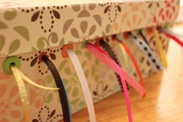 DIY Ideas With Shoe Boxes - Shoebox Ribbon Storage - Shoe Box Crafts and Organizers for Storage - How To Make A Shelf, Makeup Organizer, Kids Room Decoration, Storage Ideas Projects - Cheap Home Decor DIY Ideas for Kids, Adults and Teens Rooms http://diyjoy.com/diy-ideas-shoe-boxes