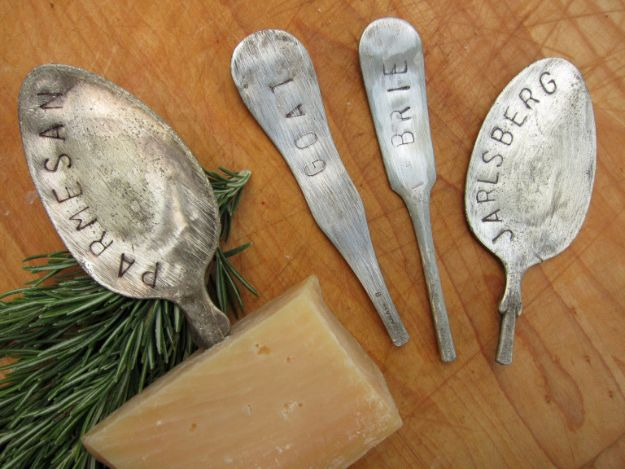 DIY Silverware Upgrades - Silverware Cheese Markers - Creative Ways To Improve Boring Silver Ware and Palce Settings - Paint, Decorate and Update Your Flatware With These Creative Do IT Yourself Tutorials- Forks, Knives and Spoons all Get Dressed Up With These New Looks For Kitchen and Dining Room http://diyjoy.com/diy-silverware-upgrades