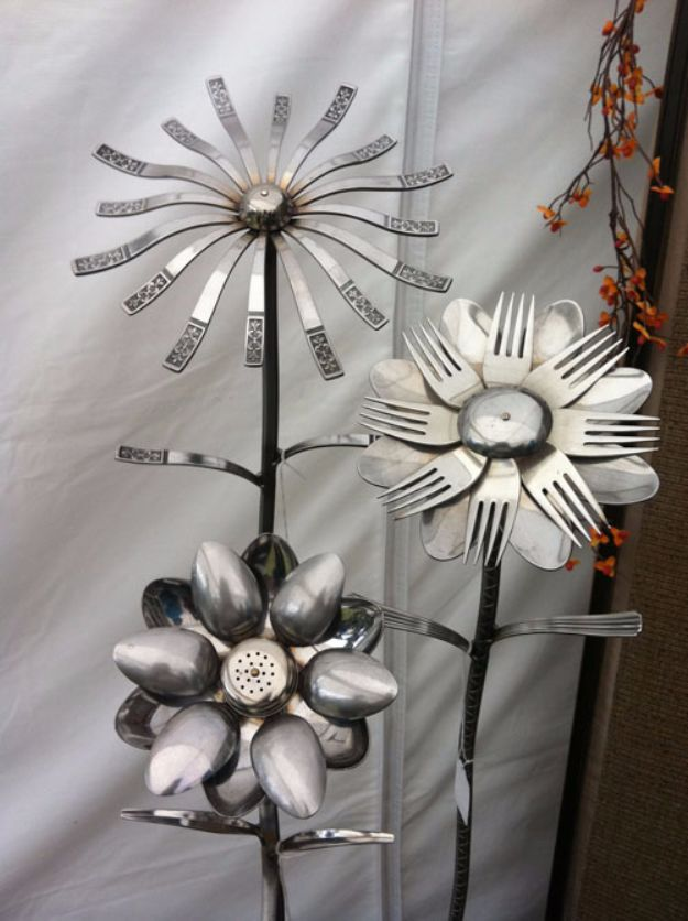 DIY Silverware Upgrades - Silverware Flowers - Creative Ways To Improve Boring Silver Ware and Palce Settings - Paint, Decorate and Update Your Flatware With These Creative Do IT Yourself Tutorials- Forks, Knives and Spoons all Get Dressed Up With These New Looks For Kitchen and Dining Room http://diyjoy.com/diy-silverware-upgrades