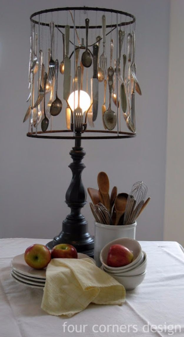 DIY Silverware Upgrades - Silverware Lamp - Creative Ways To Improve Boring Silver Ware and Palce Settings - Paint, Decorate and Update Your Flatware With These Creative Do IT Yourself Tutorials- Forks, Knives and Spoons all Get Dressed Up With These New Looks For Kitchen and Dining Room http://diyjoy.com/diy-silverware-upgrades