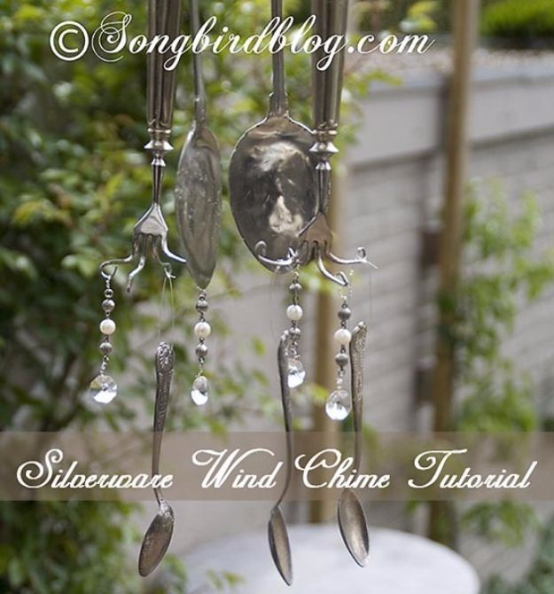 DIY Silverware Upgrades - Silverware Wind Chime - Creative Ways To Improve Boring Silver Ware and Palce Settings - Paint, Decorate and Update Your Flatware With These Creative Do IT Yourself Tutorials- Forks, Knives and Spoons all Get Dressed Up With These New Looks For Kitchen and Dining Room