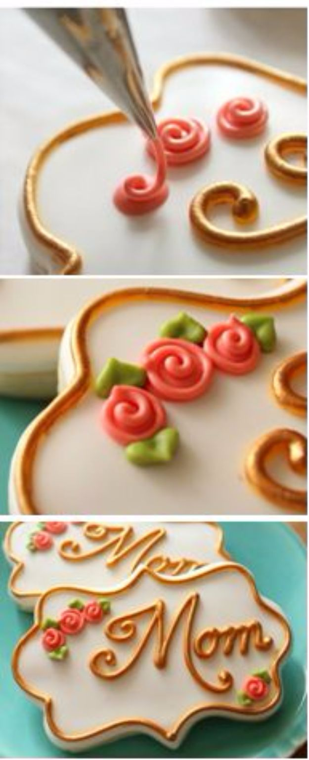 Cool Cookie Decorating Ideas - Simple Royal Icing Roses - Easy Ways To Decorate Cute, Adorable Cookies - Quick Recipes and Simple Decorating Tips With Icing, Candy, Chocolate, Buttercream Frosting and Fruit - Best Party Trays and Cookie Arrangements http://diyjoy.com/cookie-decorating-ideas
