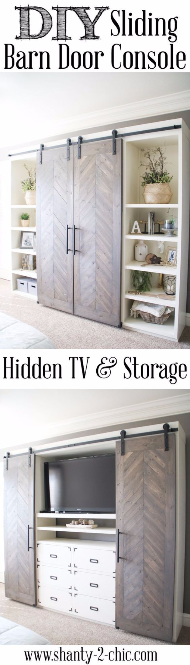 DIY Media Consoles and TV Stands - Sliding Barn Door Media Console - Make a Do It Yourself Entertainment Center With These Easy Step By Step Tutorials - Easy Farmhouse Decor Media Stand for Television - Free Plans and Instructions for Building and Painting Your Own DIY Furniture - IKEA Hacks for TV Stand Idea - Quick and Easy Ways to Decorate Your Home On A Budget http://diyjoy.com/diy-tv-media-consoles